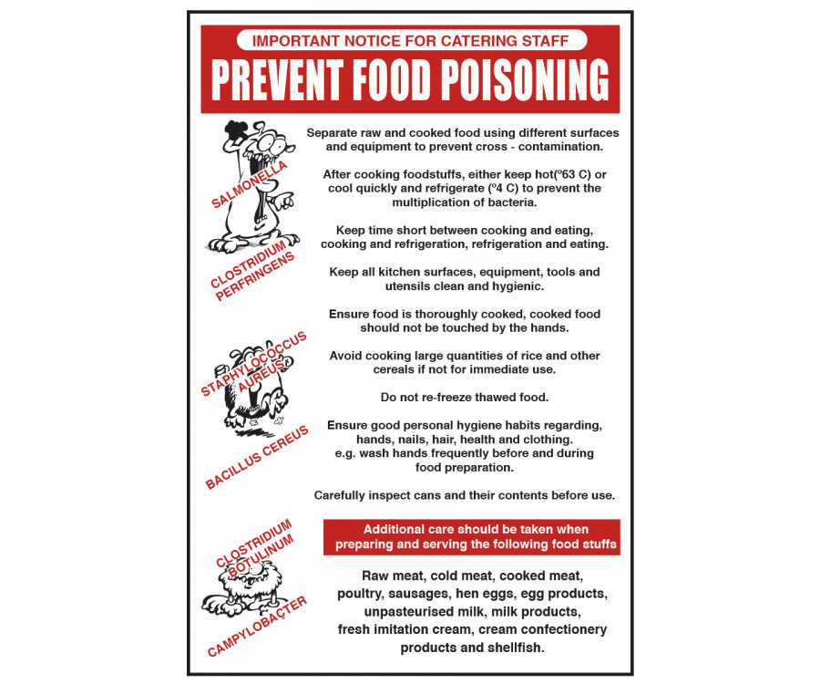 Prevent Food Poisoning Notice Cs004 Food Prep Sink Area