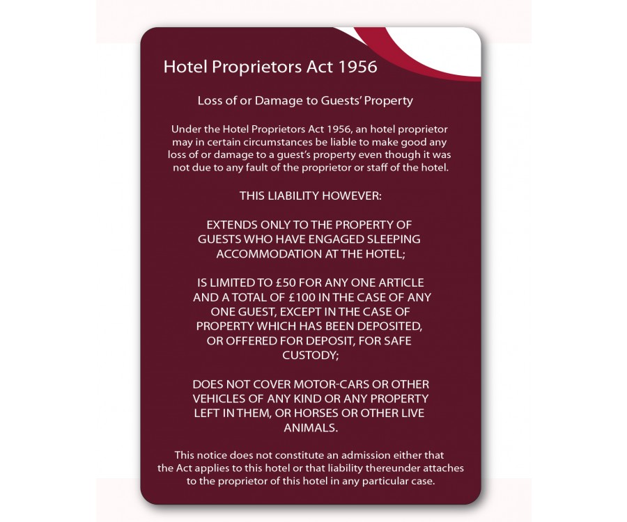 Gh021 A4 Hotel Proprietors Act 1956 Guest Information Notice