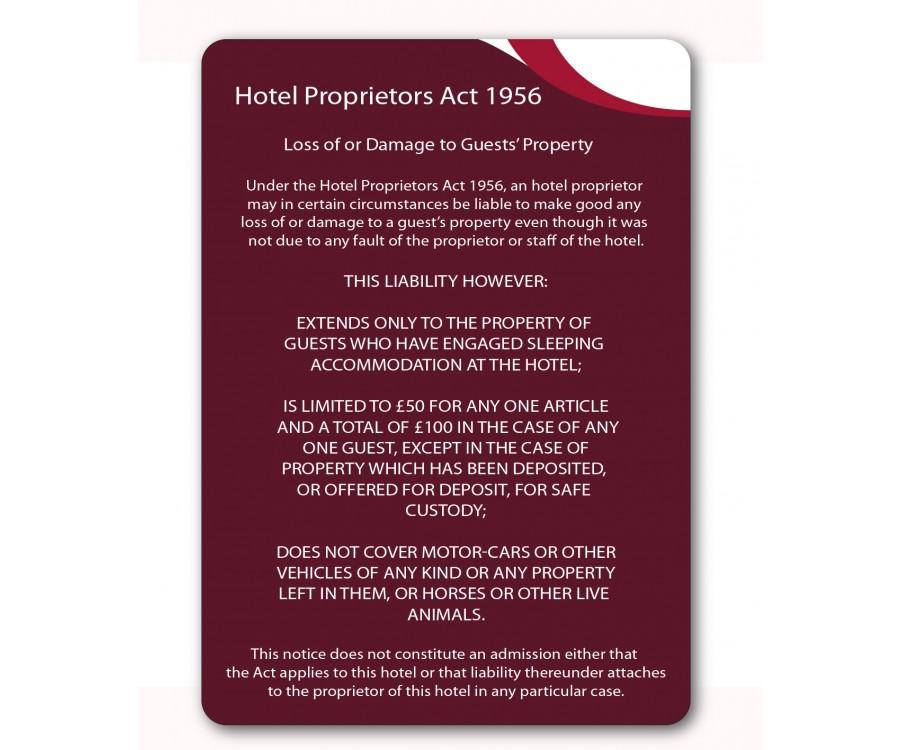 Gh021 A4 Hotel Proprietors Act 1956 Guest Information Notice