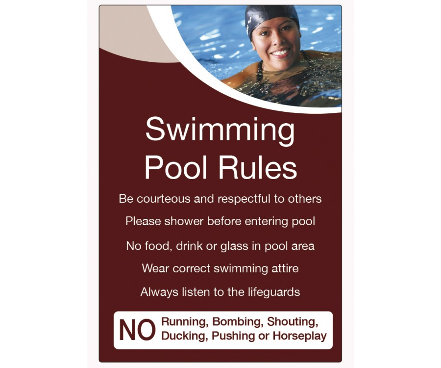 Swimming Pool Rules Notice Lp003 Spa Amp Pool Area