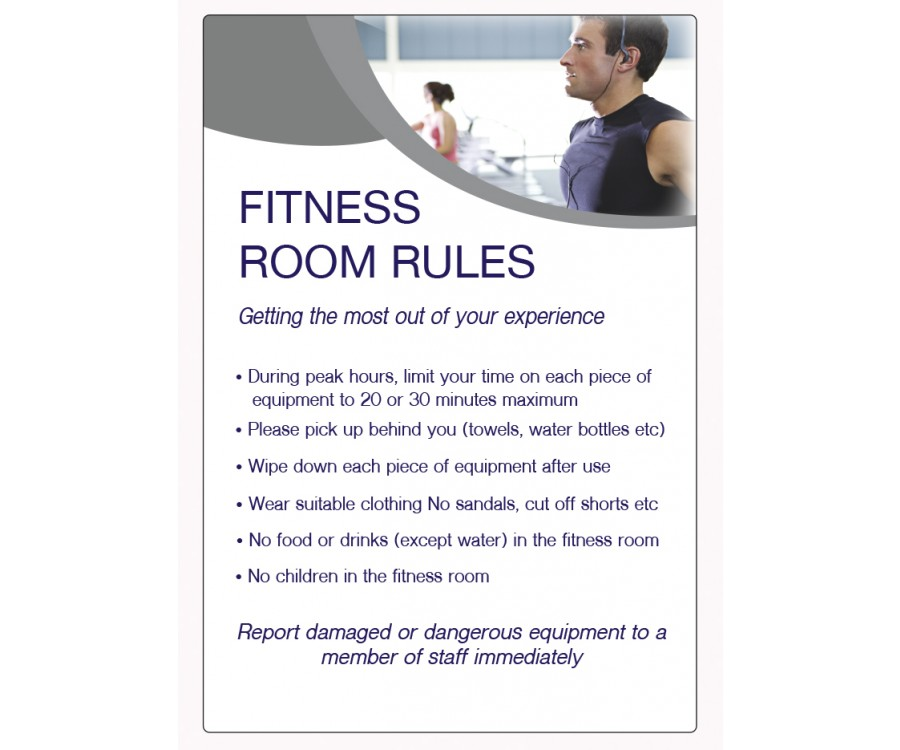 Fitness room rules notice lp
