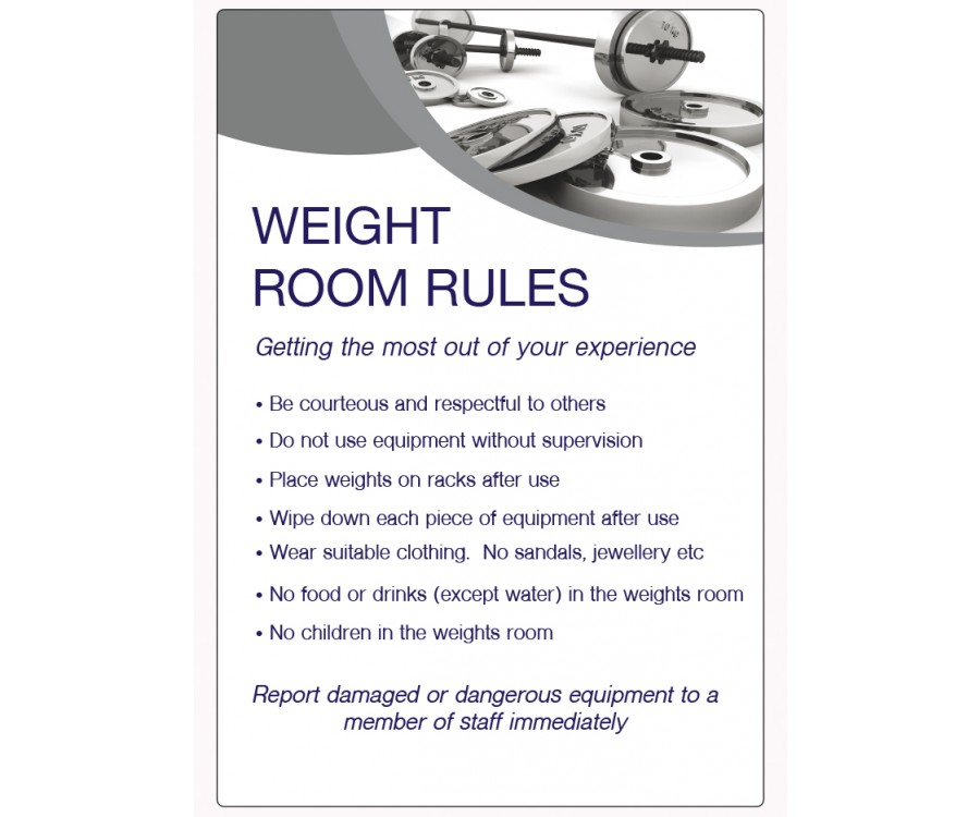Weight Room Rules Notice Lp005 Spa Amp Pool Area Safety