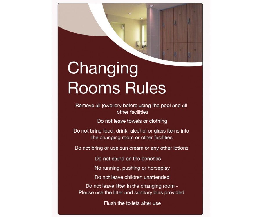 Lp changing rooms rules guidelines notice spa
