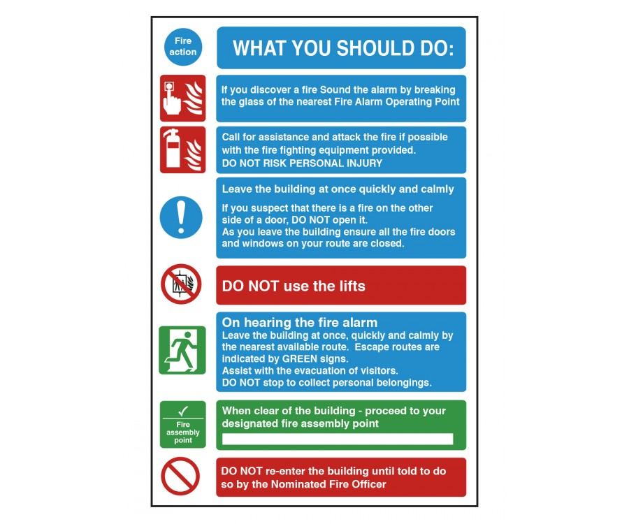 What You Should Do Fire Action Safety Sign Fire Door
