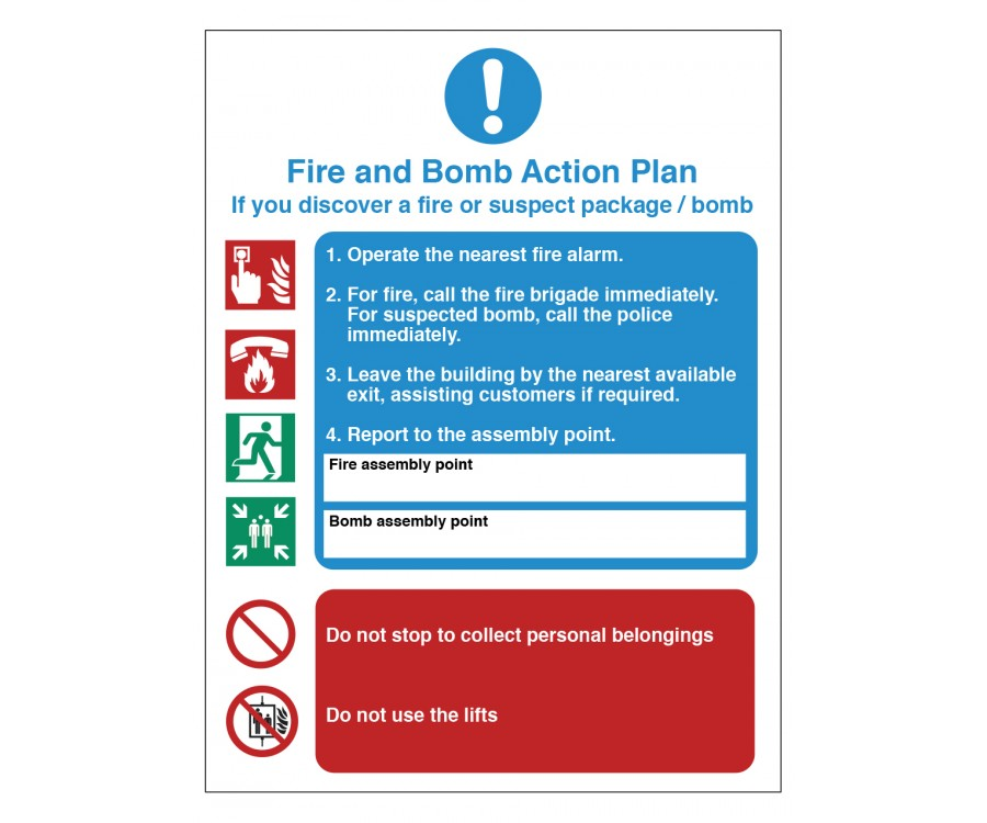 Fire Amp Bomb Action Plan Fire Safety Sign Fire Door