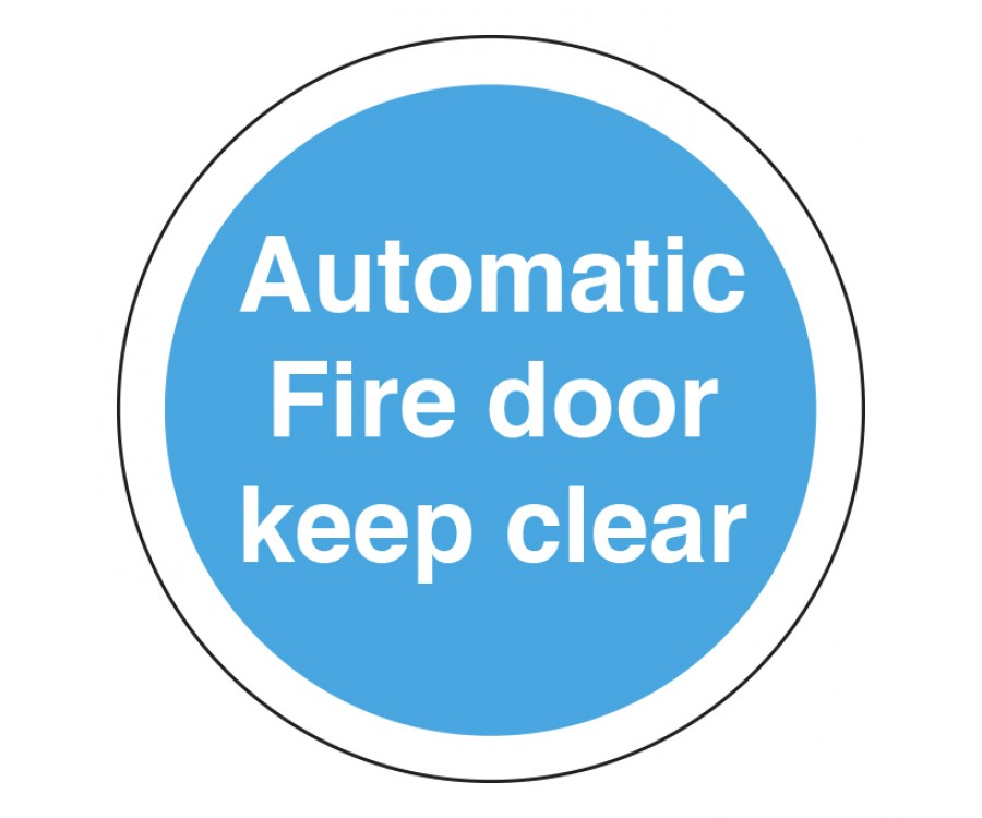 Ms226 automatic fire door keep clear 75mm diameter self adhesive vinyl stickers fire door fire action signs fire safety signs labels product