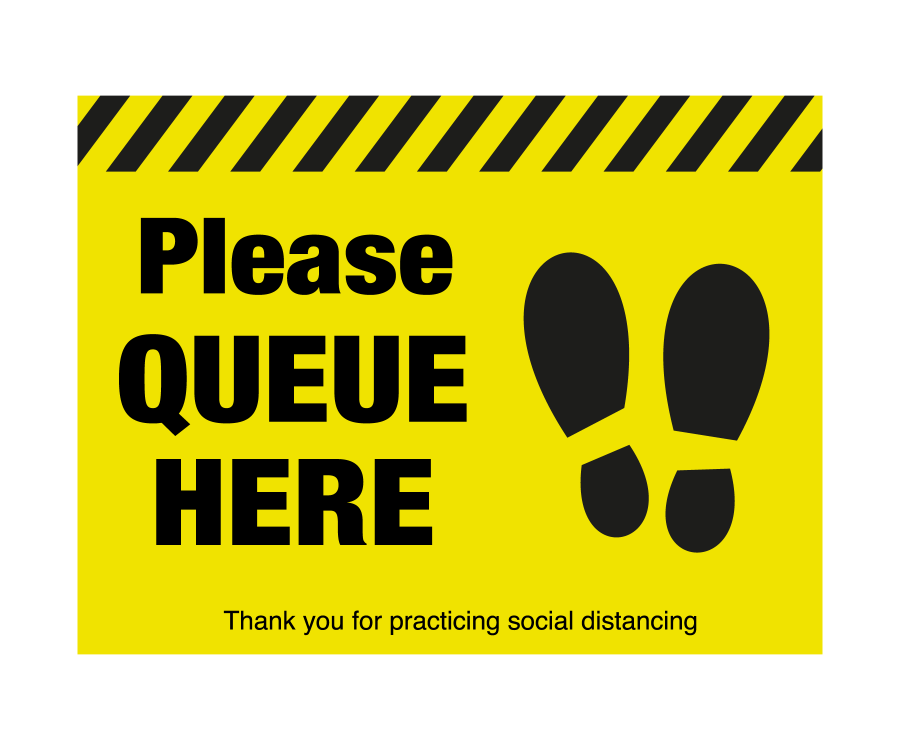 Please queue here with symbol distancing floor graphic | Mileta Signs