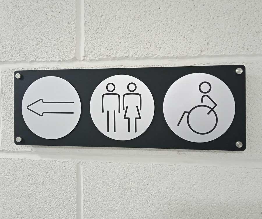Washroom Door and Directional Signs
