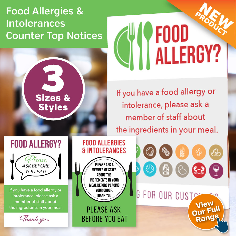 Allergy Awareness Counter Top Notices