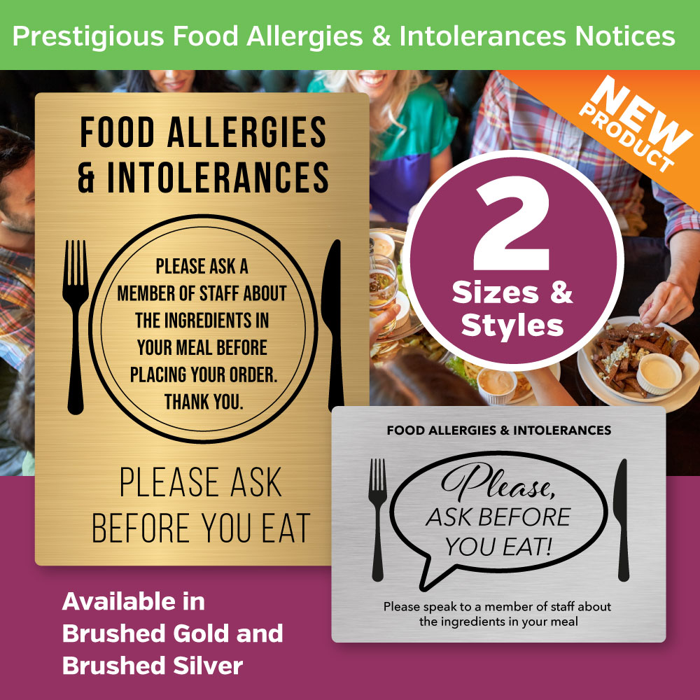 SIlver & Gold Allergy Awareness Notices