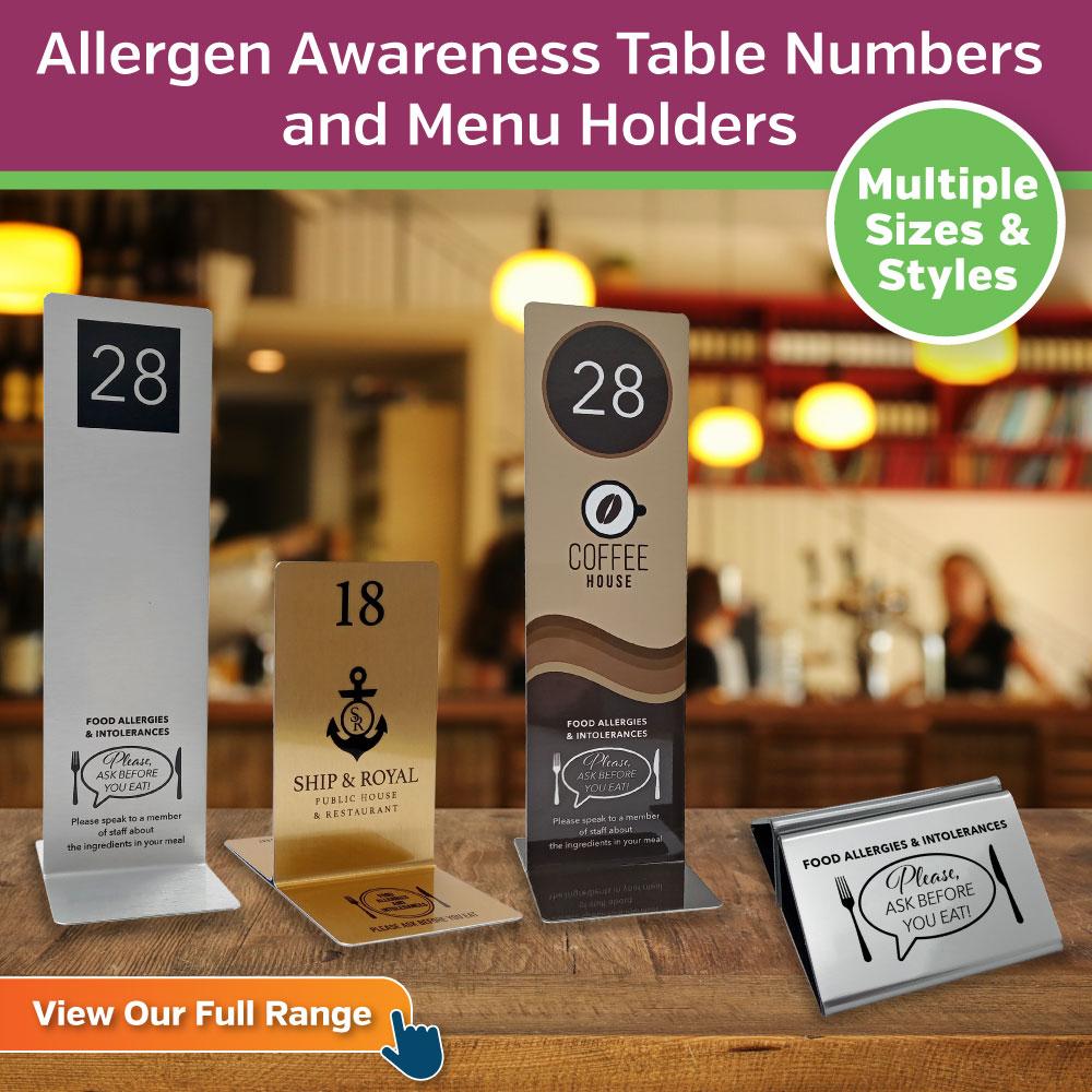 Allergy Awareness Table Numbers & Menu Holders