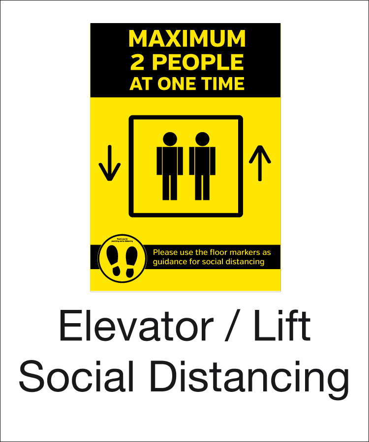 Elevator and lift social distancing signs