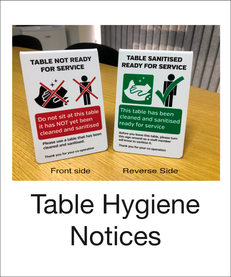 Tabletop hygiene table notices