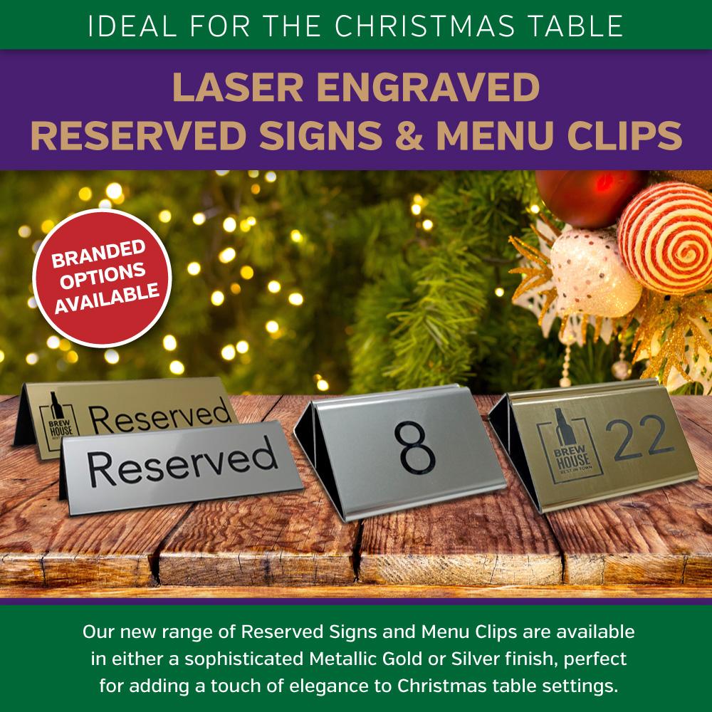 Laser Engraved Menu Holders & Reserved Signs